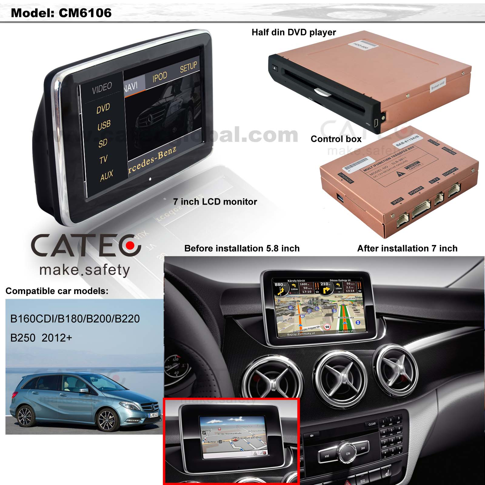 car DVD player GPS navigation radio head unit Mercedes-Benz B class W246