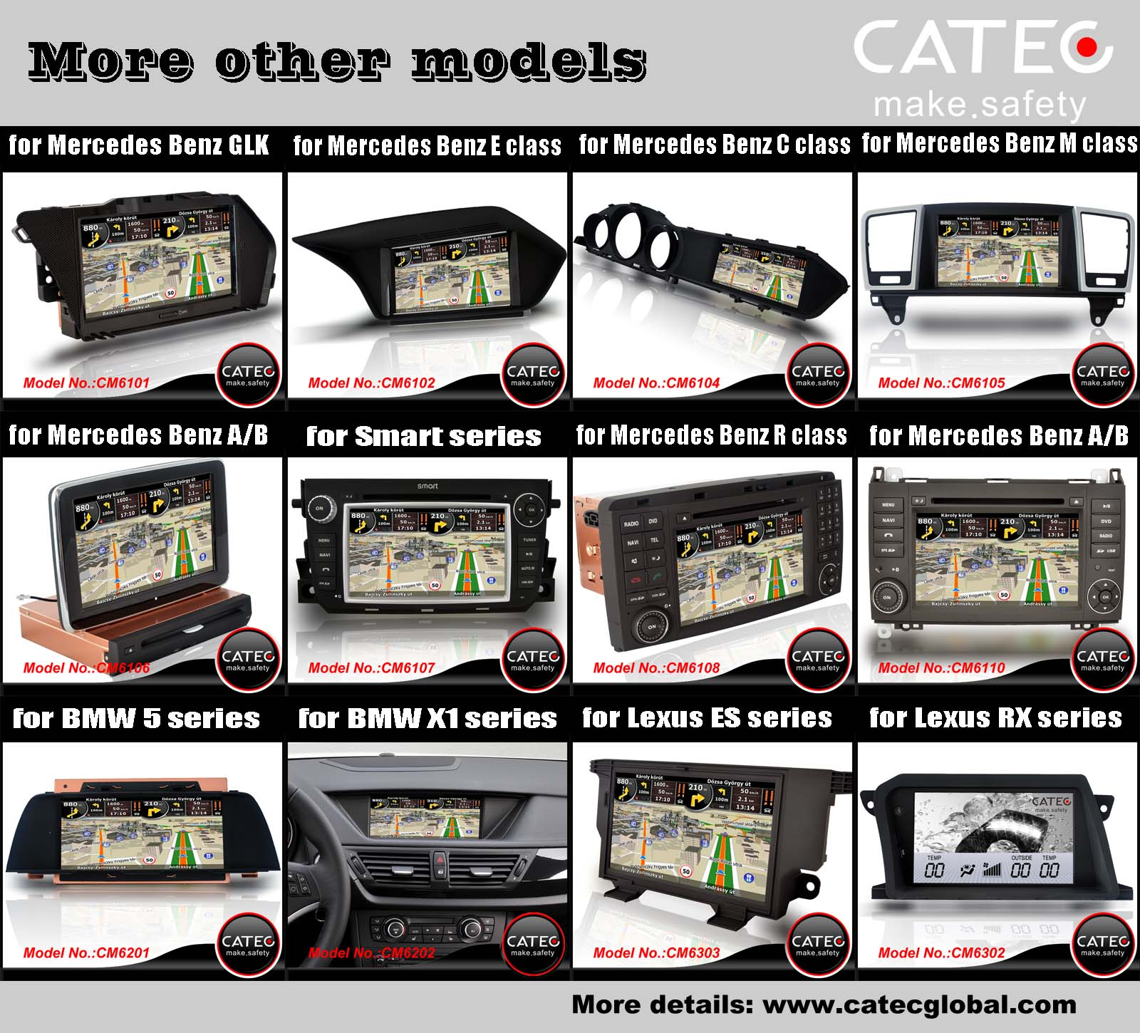 Car DVD player GPS navigation radio head unit models CATEC