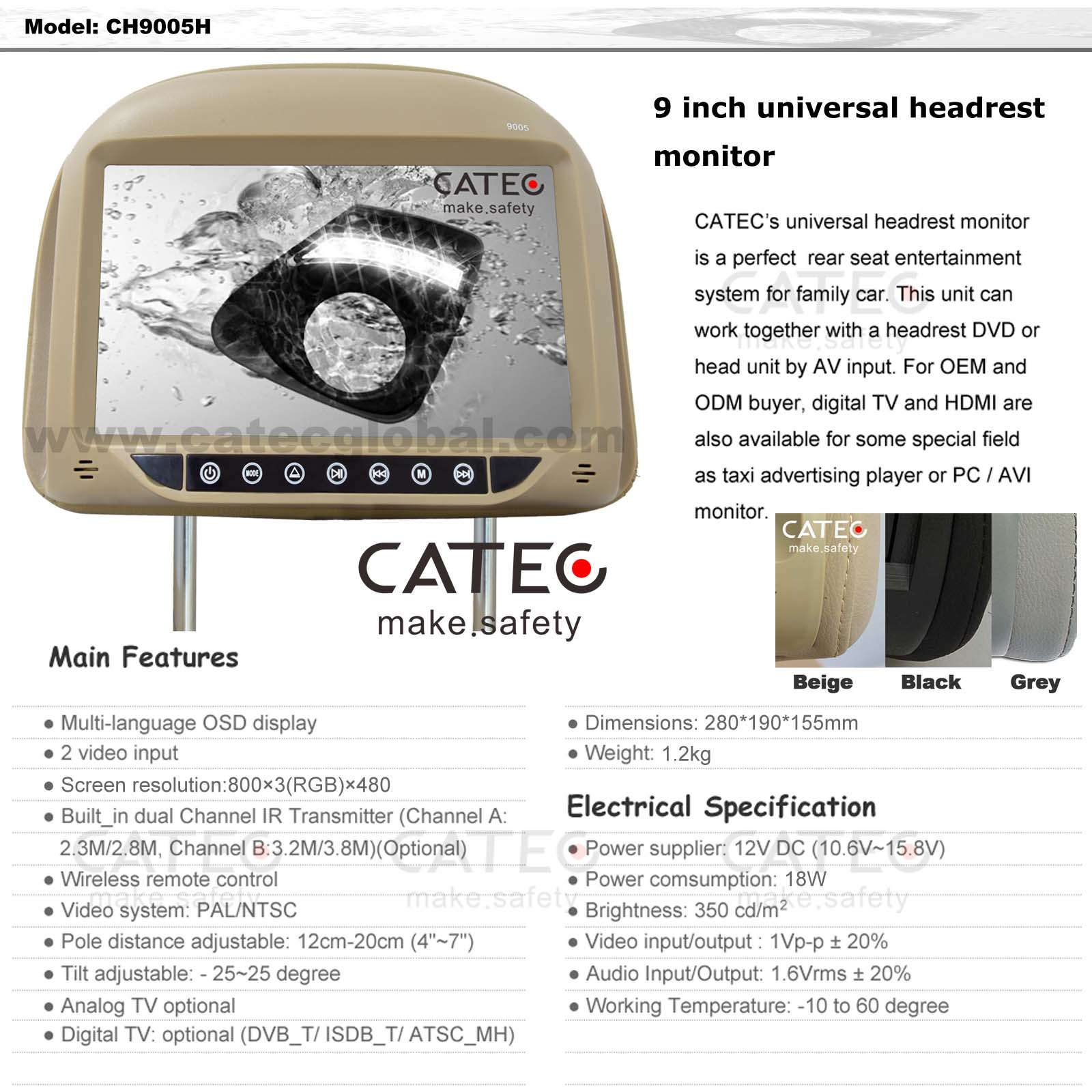 FEATURES OF 9 INCH CAR HEADREST TV MONITORS CH9005H