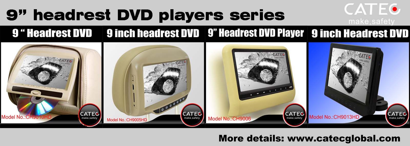 Car interior accessories-CATEC 9 inch car headrest dvd players series