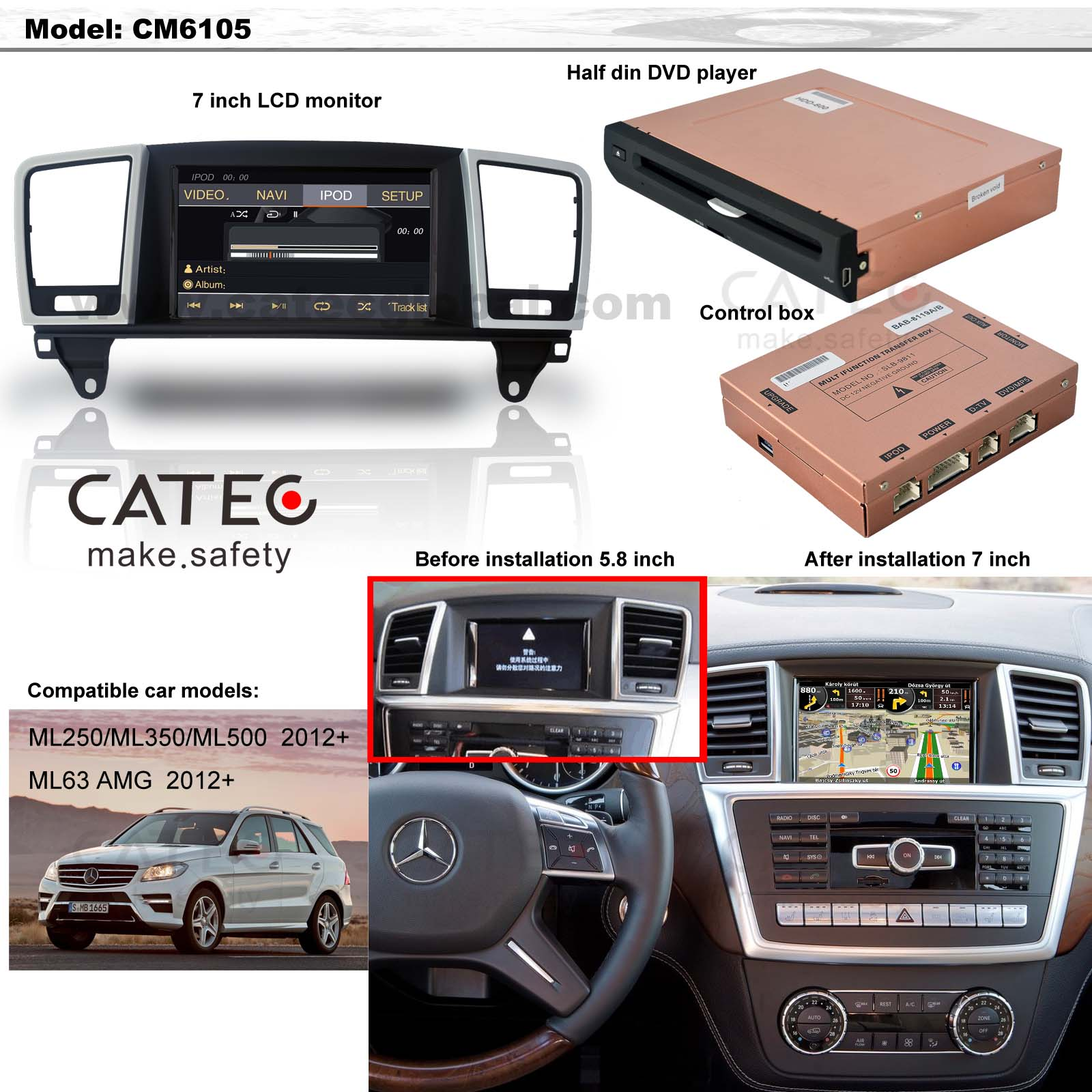 car DVD player GPS navigation radio head unit Mercedes-Benz M class W166