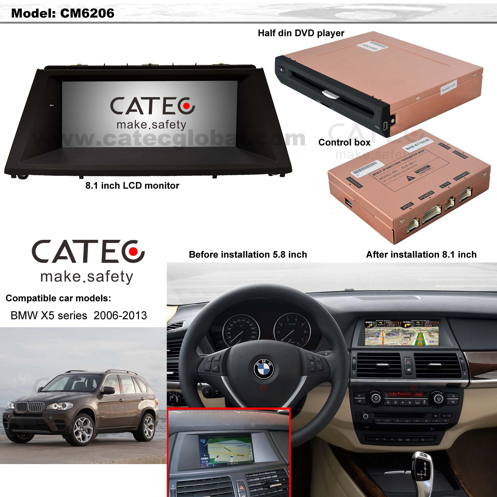 BMW X5 car GPS navigation with DVD players