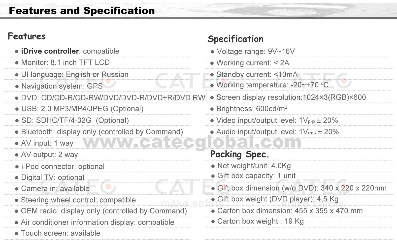 Specification of BMW X5 car GPS navigation with DVD player