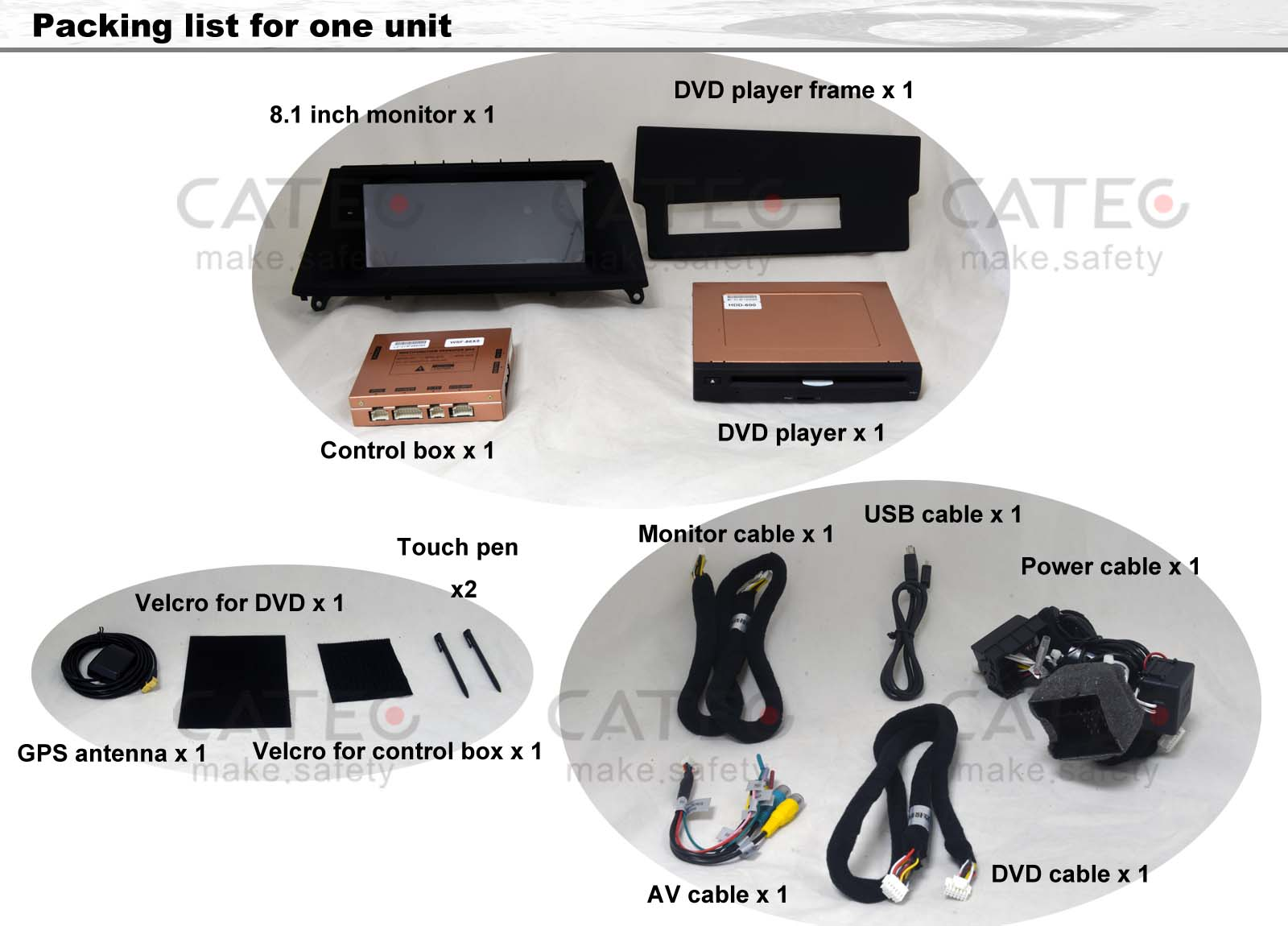 packing list for BMW X5 car GPS navigation with DVD player