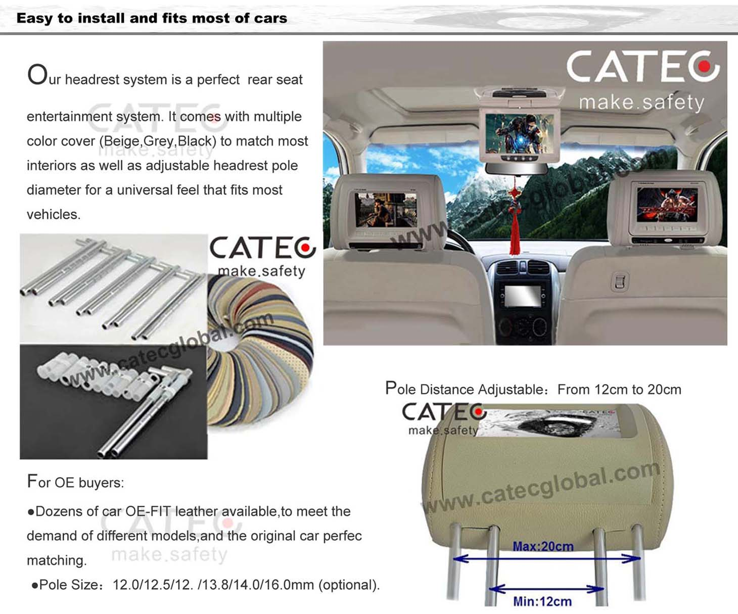 more advantages for CATEC 9 inch car headrest HD monitors, CH9010A