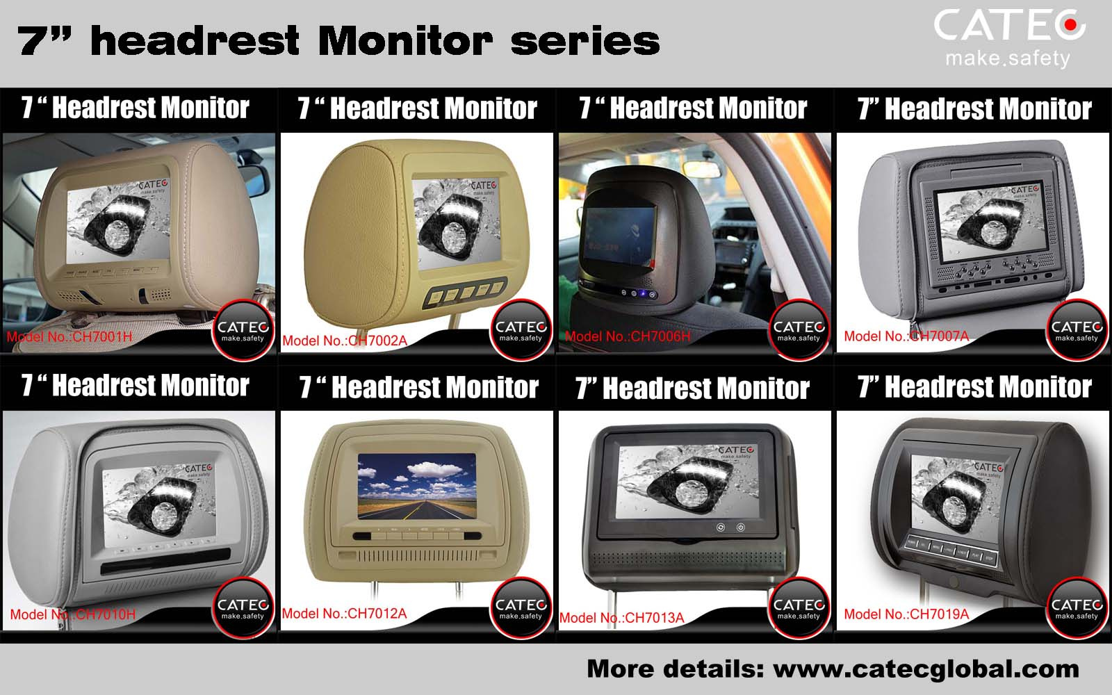 car interior accessories-CATEC 7 inch car headrest monitors series