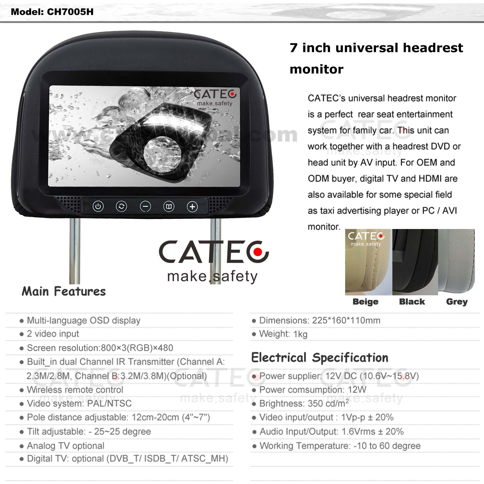 FEATURES OF 7 INCH CAR HEADREST HD MONITORS CH7005H