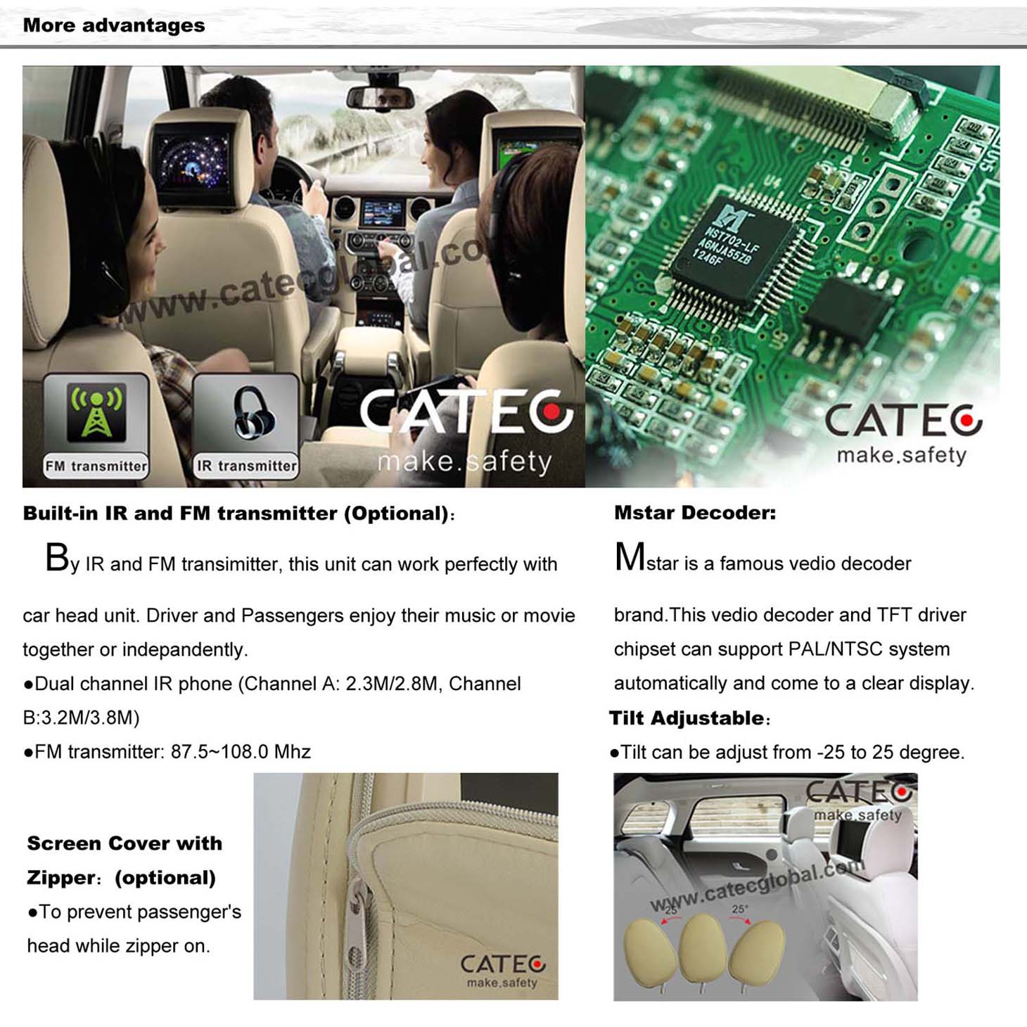 advantages for CATEC 7 inch car headrest HD monitors, CH7005H