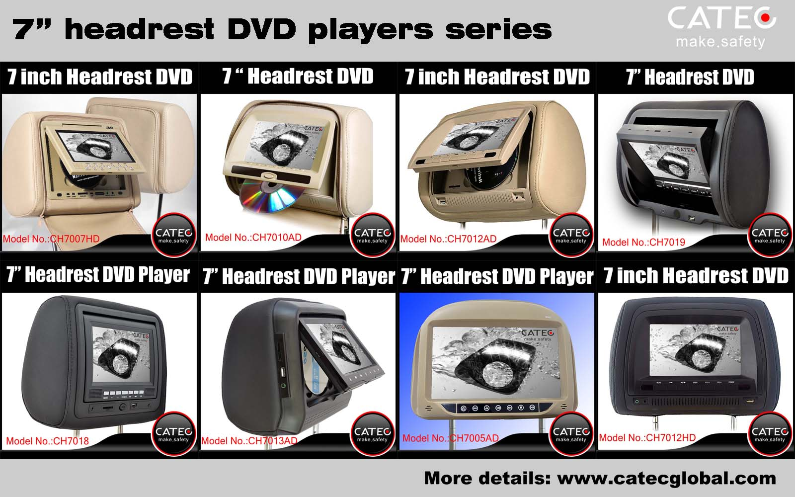 car interior accessories-CATEC 7 inch car headrest dvd players series
