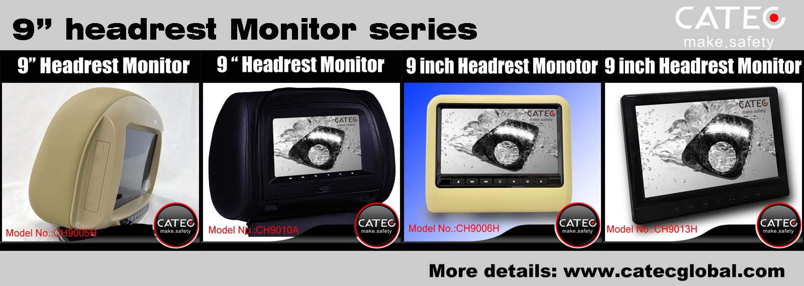 Car interior accessories-CATEC 9 inch car headrest monitors series