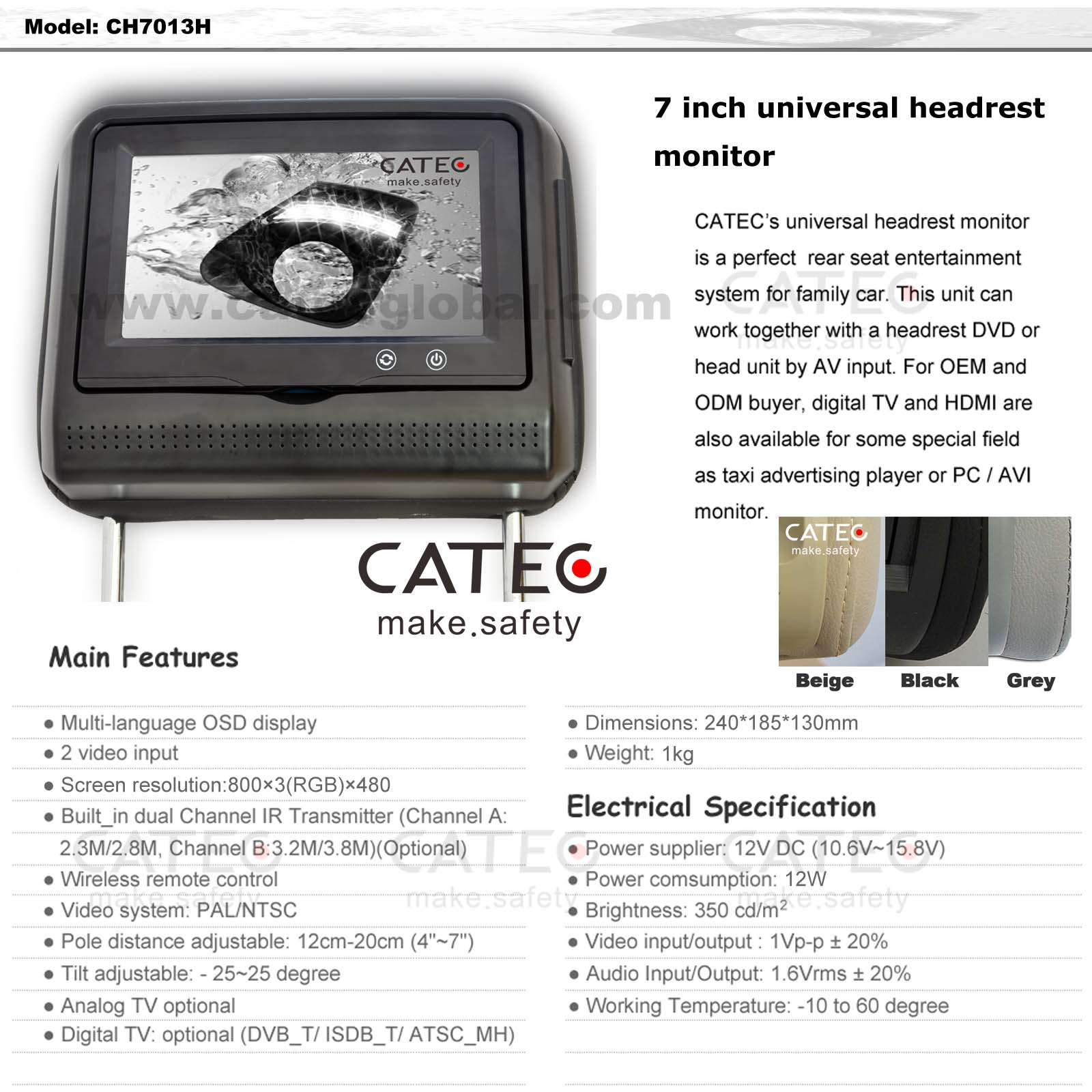 FEATURES OF 7 INCH CAR HEADREST MONITORS CH7013H