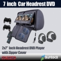 7 inch car headrest DVD player with leather cover wireless earphones/FM/USB/Game funtion